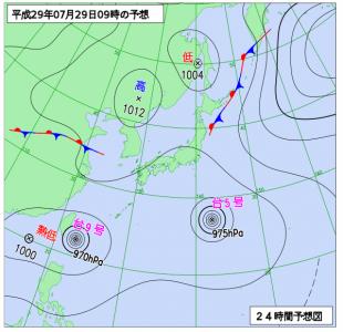7月29日(土)9時の予想天気図