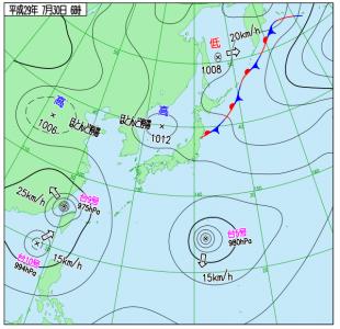 7月30日(日)6時の実況天気図