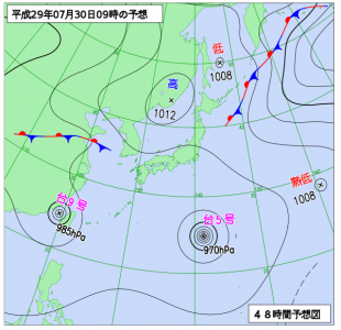 7月30日(日)9時の予想天気図