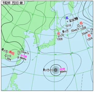 7月31日(月)6時の実況天気図