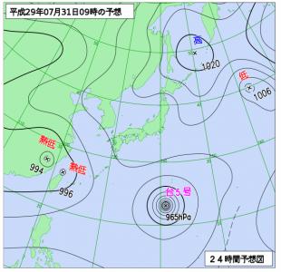 7月31日(月)9時の予想天気図