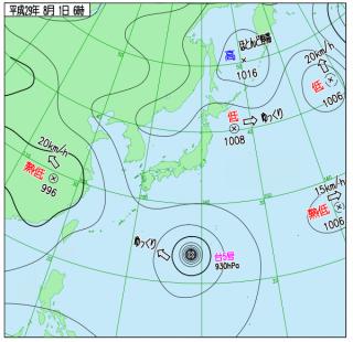 8月1日(火)6時の実況天気図