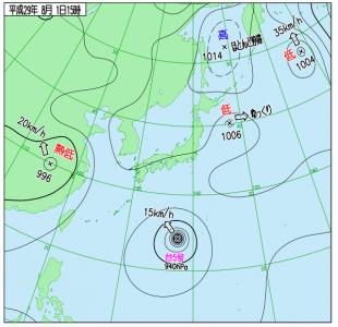8月1日(火)15時の実況天気図