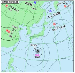 8月2日(水)6時の実況天気図