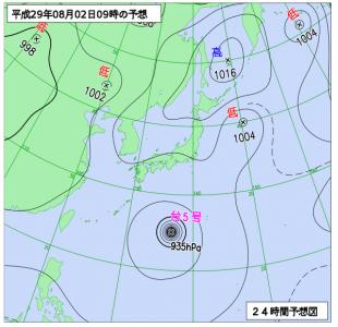 8月2日(水)9時の予想天気図