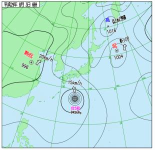 8月3日(木)6時の実況天気図
