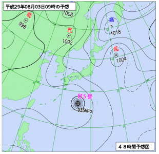 8月3日(木)9時の予想天気図