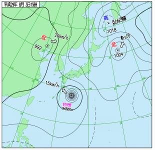 8月3日(木)15時の実況天気図