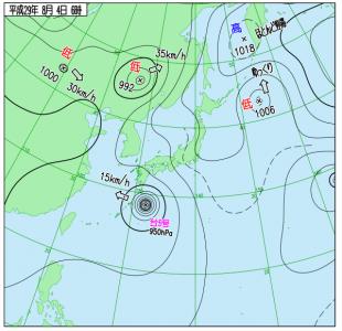 8月4日(金)6時の実況天気図