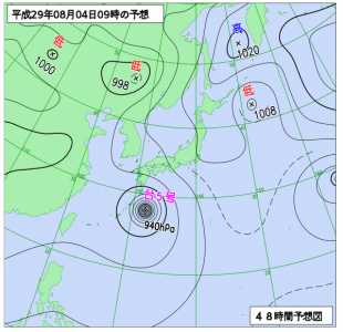 8月4日(金)9時の予想天気図