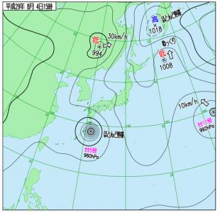 8月4日(金)15時の実況天気図
