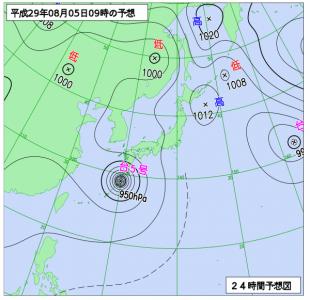 8月5日(土)9時の予想天気図