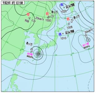 8月5日(土)15時の実況天気図