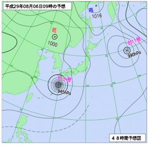 8月6日(日)9時の予想天気図