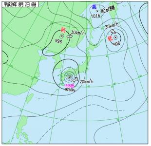8月7日(月)6時の実況天気図