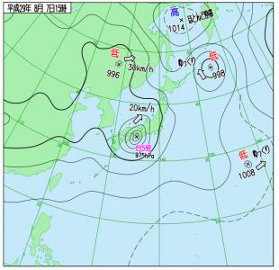 8月7日(月)15時の実況天気図