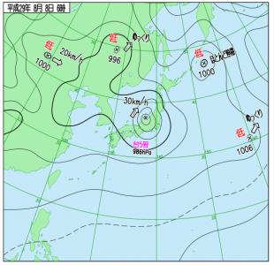 8月8日(火)6時の実況天気図