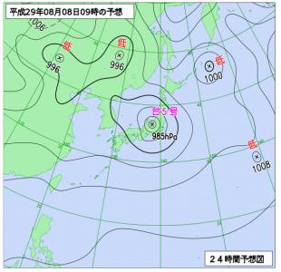 8月8日(火)9時の予想天気図