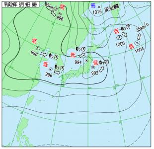 8月9日(水)6時の実況天気図