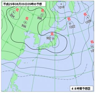 8月10日(水)9時の予想天気図