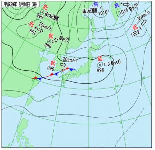 8月10日(木)3時の実況天気図