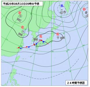 8月10日(木)9時の予想天気図