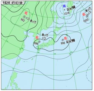 8月10日(木)15時の実況天気図