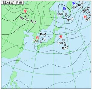 8月11日(金祝)6時の実況天気図