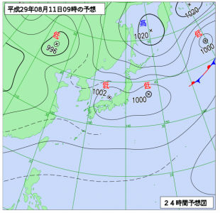 8月11日(金祝)9時の予想天気図