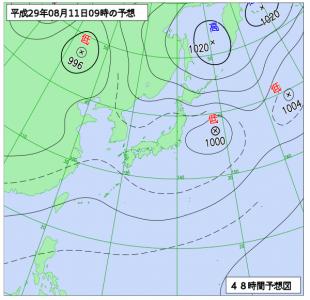 8月11日(金)9時の予想天気図