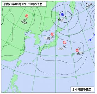 8月12日(土)9時の予想天気図
