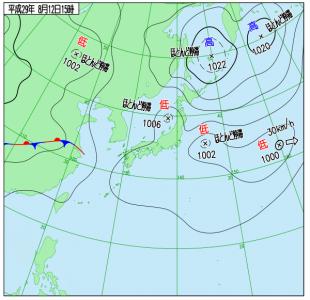 8月12日(土)15時の実況天気図