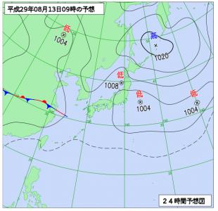 8月13日(日)9時の予想天気図
