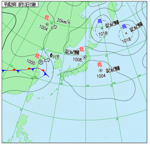 8月13日(日)15時の実況天気図
