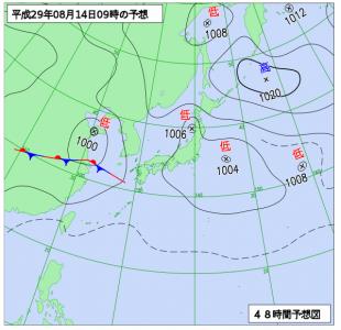 8月14日(月)9時の予想天気図