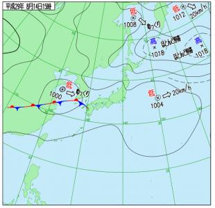 8月14日(月)15時の実況天気図