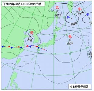 8月15日(火)9時の予想天気図