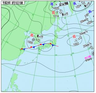 8月15日(火)15時の実況天気図