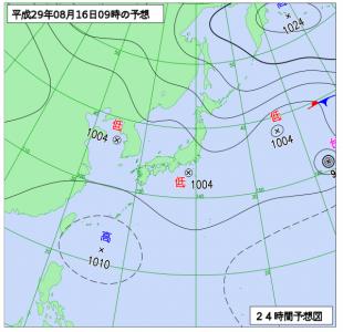 8月16日(水)9時の予想天気図