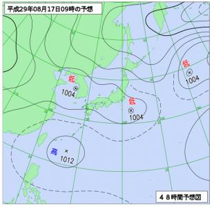 8月17日(木)9時の予想天気図