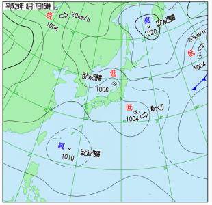 8月17日(木)15時の実況天気図