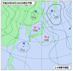 8月18日(金)9時の予想天気図