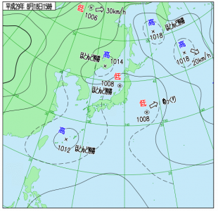 8月18日(金)15時の実況天気図