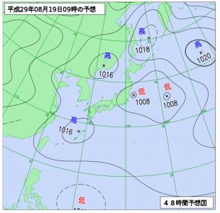 8月19日(土)9時の予想天気図
