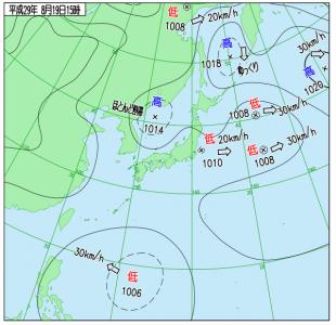 8月19日(土)15時の実況天気図