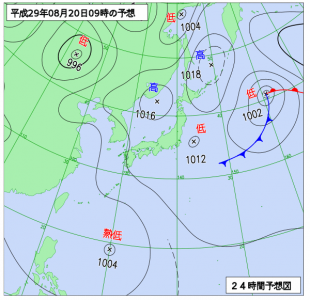 8月20日(日)9時の予想天気図