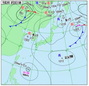8月20日(日)15時の実況天気図
