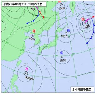 8月21日(月)9時の予想天気図