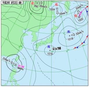 8月22日(火)6時の実況天気図