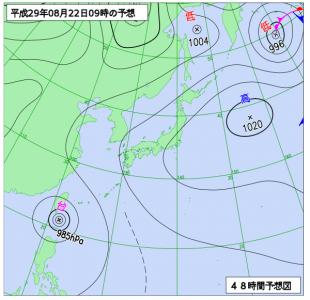 8月22日(水)9時の予想天気図